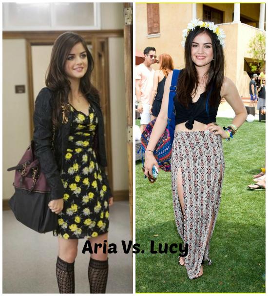 Aria, la pequeña frente a Lucy Hale. ¿Se puede ser más linda? Elijo el look de Lucy.