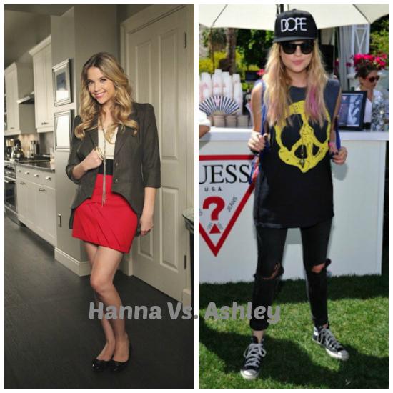 Hanna Marin, la más coqueta de las Pretty Little Liars es la que vive de shopping, pero Ashley Benson es más free. Amo los dos estilos, y Hanna es mi PLL preferida.