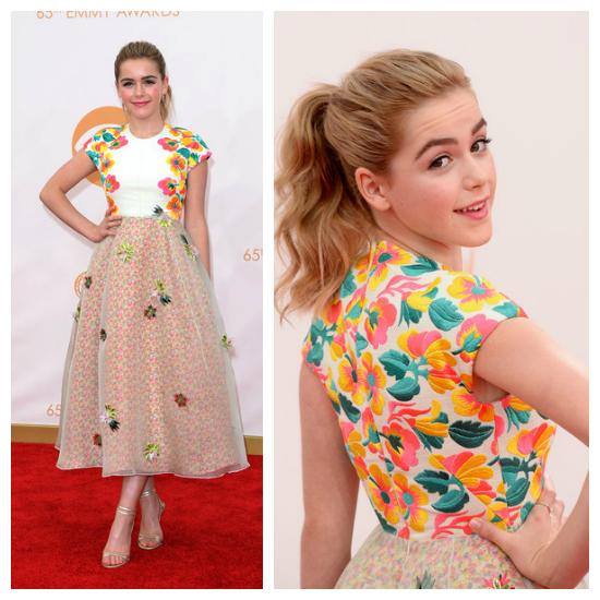Kiernan Shipka la pequeña de Mad Men eligió un vestido ideal para la gala, y para su edad. Kiernan se quedó con un diseño de la temporada SS2014 del diseñador español Del Pozo. Amé.