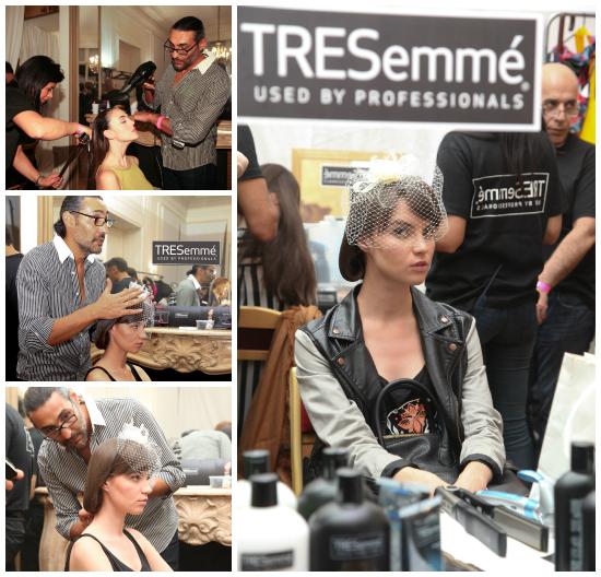 Diego Impagliazzo estilista exclusivo e internacional de TRESemmé, en acción.