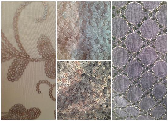 Texturas copadas en Justa Petra: Lentejuelas, encajes y apliques.