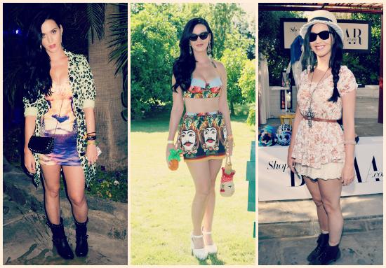 Me encanta como Katy Perry arma los estilos sin atarse a nada. ¿Mi preferido? El vestido de la primer foto y la pollera del segundo, me lo pondría ya mismo.