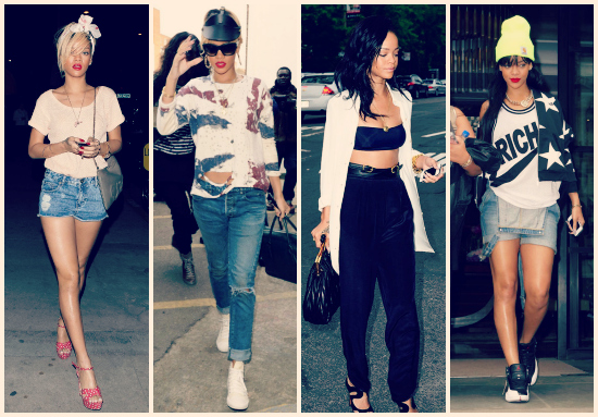 Shorts con tacos rojos alunarados increíbles, un crop top con un pantalón negro pinzado tiro alto y dos looks más casual. Sello Rihanna a full.