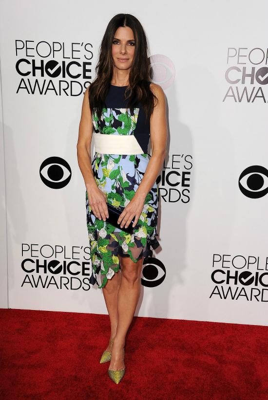Impecable Sandra Bullock que se animó a los colores con este diseño de Peter Pilotto  y se llevó dos premios.