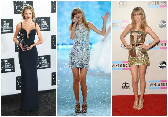 A la hora de los shows o red carpet no se queda atrás. El vestido negro largo le sienta super en su metro ochenta. Los dos vestidos cortos son demasiado geniales, ¿el mejor? si, el dorado. TOO MUCH.