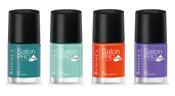 Mis preferidos. De izquierda a derecha: Sea Green, Pepperint, Summer Orange y Purple Rain