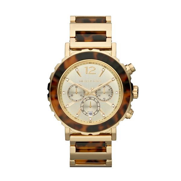 Para las más osadas, como yo, este es el reloj IDEAL. Es de Michel Kors y viene combinado en dos grandes tendencias de la temporada: Dorado y Animal Print.