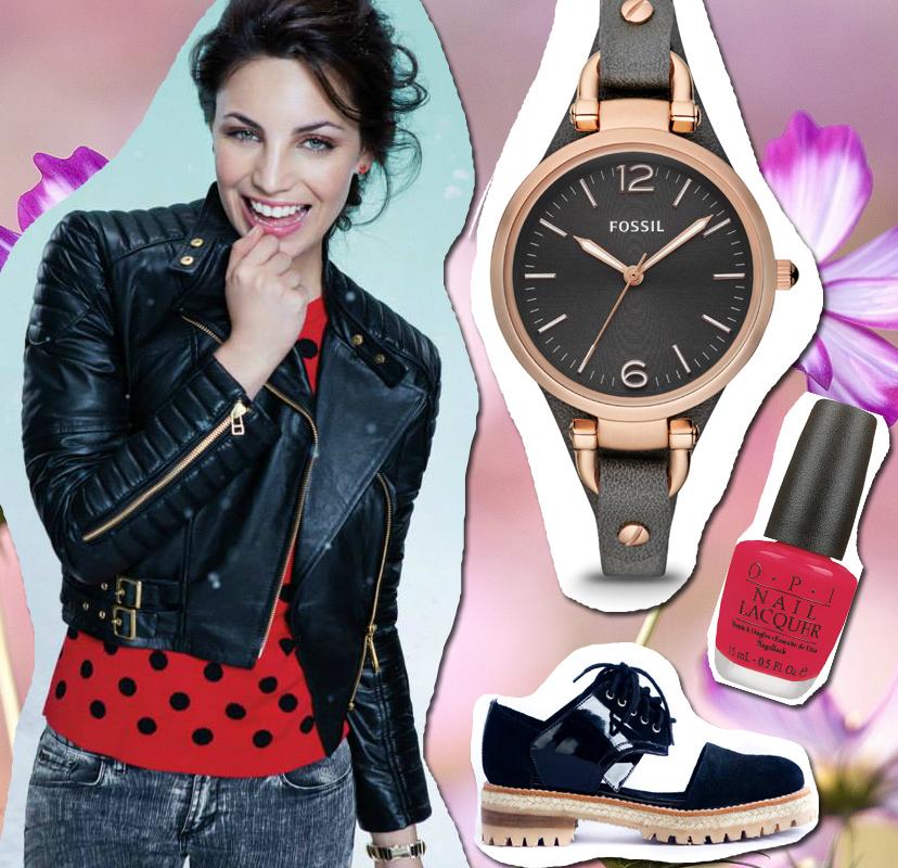 Campera: Las Oreiro Sweater: Las Oreiro Reloj: Fossil Zapatos: Tiza Caliza Esmalte:  OPI