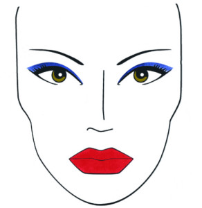 Sombras azules o celestes, y labios rojos son la clave de este look.