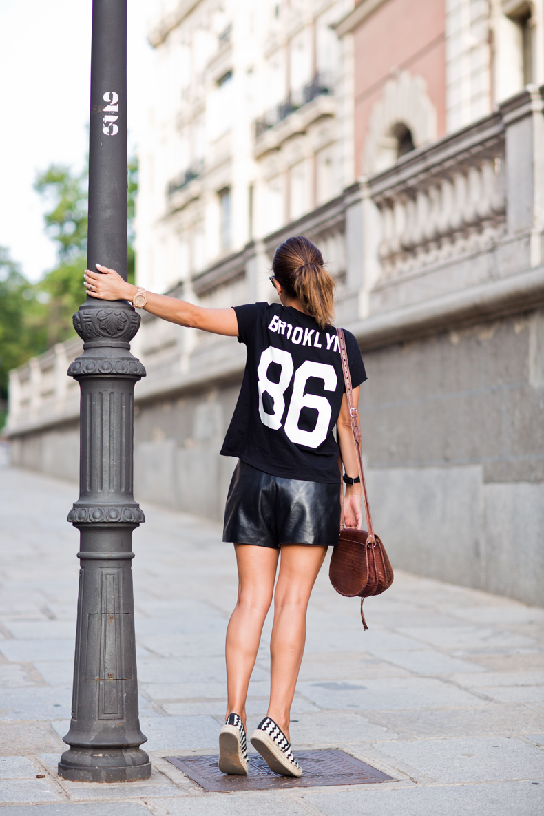 Number_tee-Leather_Shorts-Striped_Espadrilles-Outfit-Street_Style-