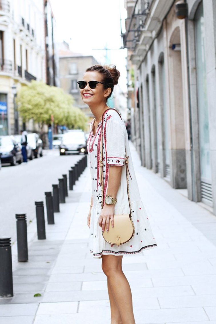 Ray-Ban clubmasters, boho chic dress, street style, Paris