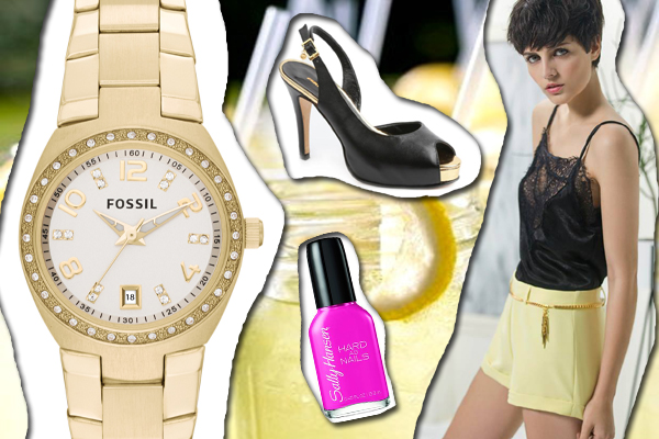 Top y shorts: Square Reloj: Fossil Zapatos: Ferraro Esmalte: Sally Hansen Hard as Nails Love Rocks