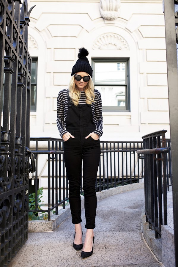 Bloglovin+Blog+Winter+Style+Black+Overalls+Cat+Eye+Sunglasses+Fur+Pom+Pom+Beanie+Hat+Striped+Tee+Classic+Black+Pumps+Via+Atlantic+Pacific