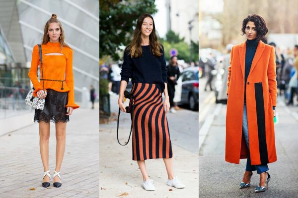 Si el naranja te parece muy arriesgado para un tapado, sweater o pollera podés animarte a usar accessorios con este color, y darle un poco de vida al look.