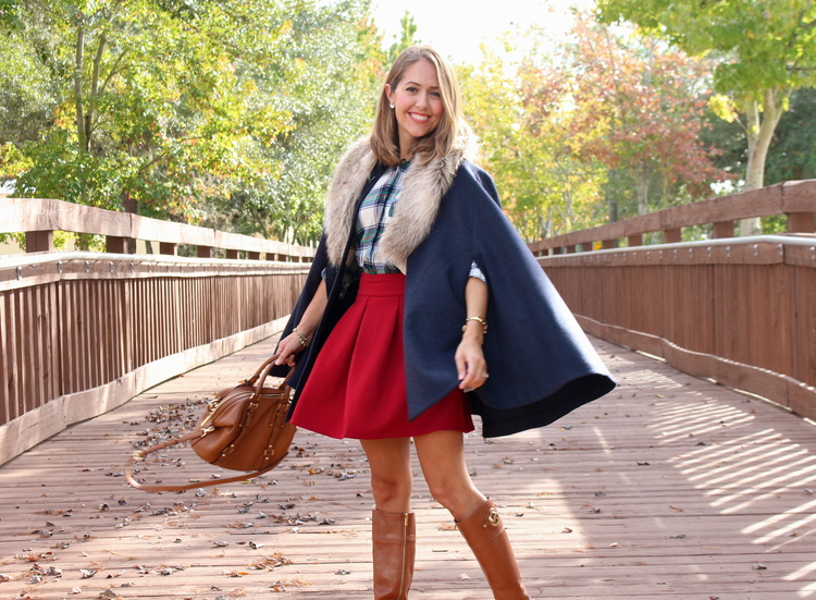 Navy+cape,+plaid+top,+red+skirt,+riding+boots