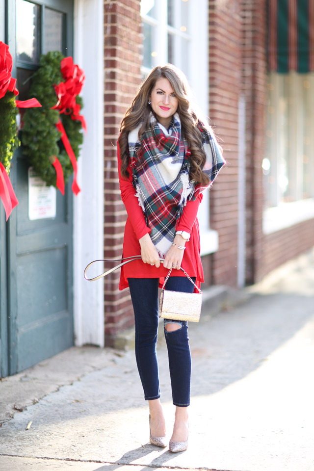 Nordstrom holiday outfit blanket scarf jimmy choo heels-11