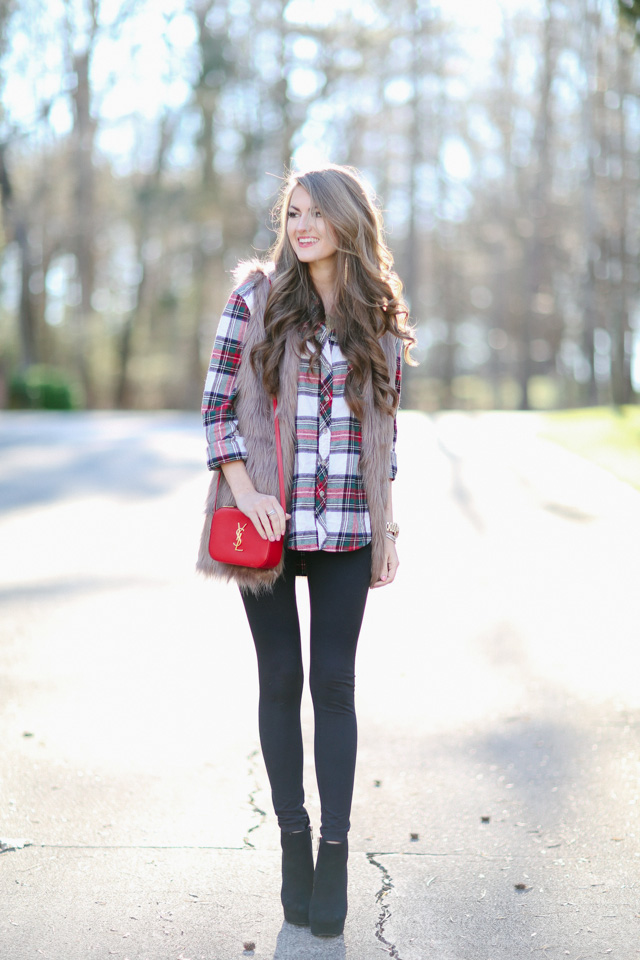 plaid top faux fur vest outfit inspiration-11