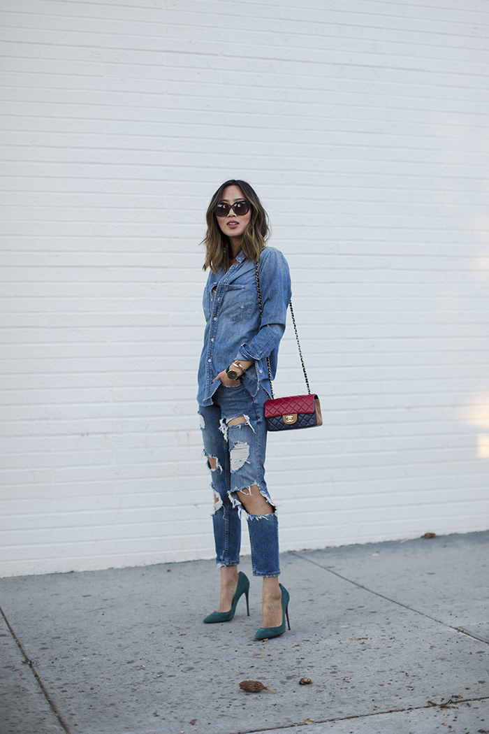 Aimee_song_of_style_denim_shirt_ripped_denim_jeans_christian_louboutin_pumps_chanel_quilted_bag_celine_sunglasses