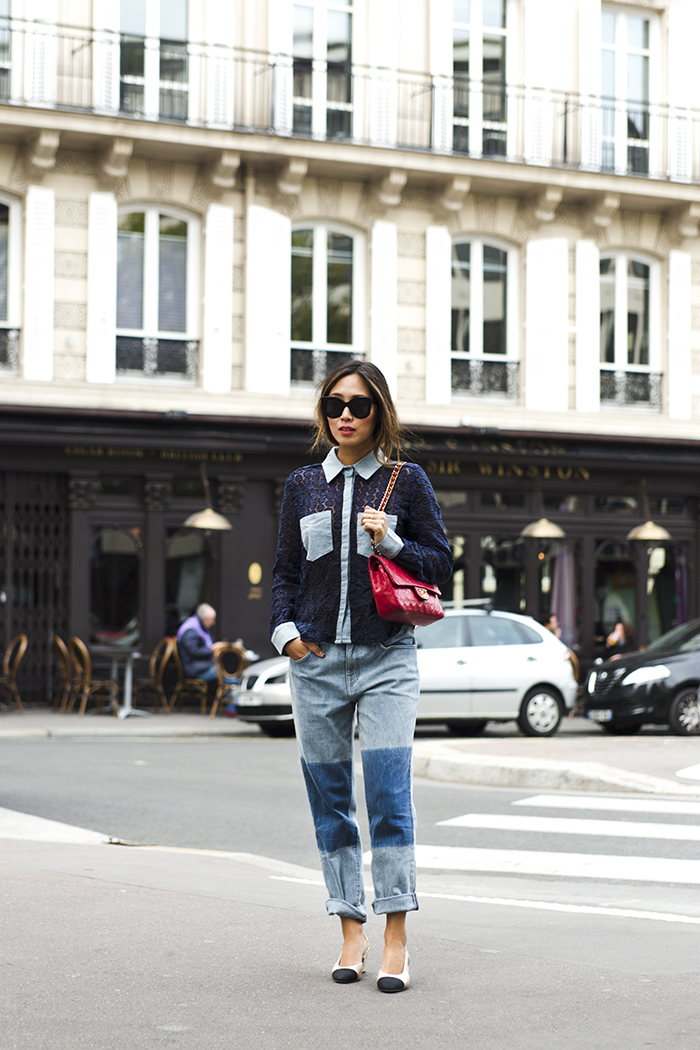 aimee_song_of_style_sister_jane_crochet_shirt_wildfox_jeans_chanel_bag_celine_sunglasses_chanel_slingback_sandals