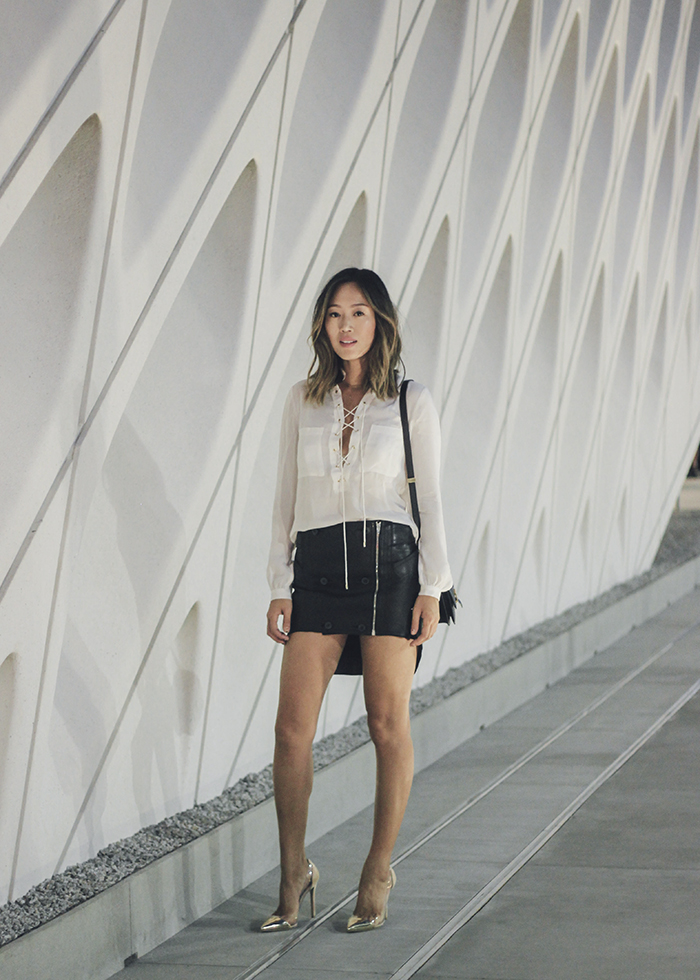aimee_song_of_style_haute_hippie_tie_up_blouse_alexander_Wang_leather_skirt_gianvito_rossi_heels