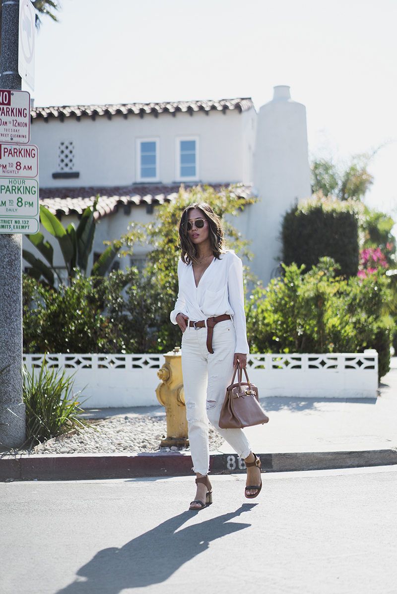 Aimee_Song_of_Style_White_Helmut_Lang_Blouse_Hermes_Bag_Celine_Two_Tone_Sandals_White_Jeans