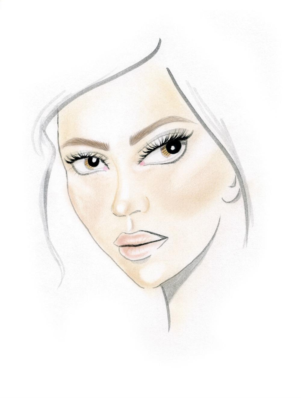 El Face Chart lo muestra: un look natural que se consiguió jugando con dos tonos de strobing.