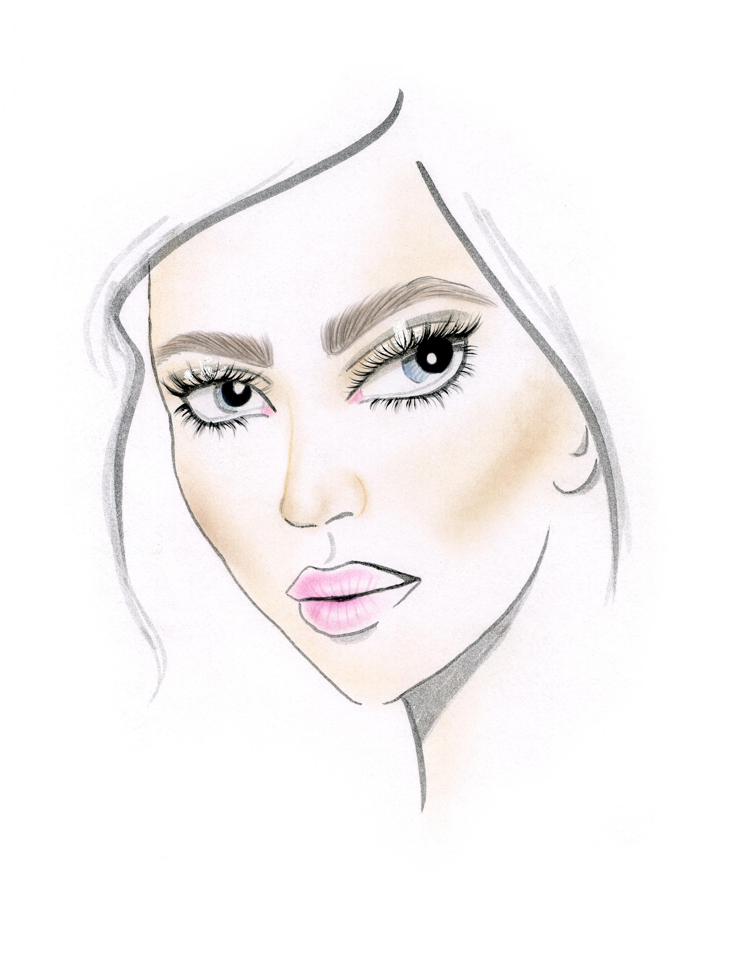 El Face Chart muestra un maquillaje con mucho foco en ojos, de hecho, se usaron dos máscaras. También está bien marcado el contorno.